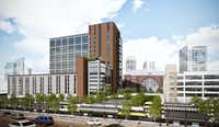The new Victory Commons office project is next door to DART's Victory Park commuter rail station.(BOKA Powell)