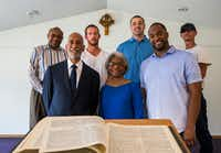 From left, Don and Wanda Wesson, and their son, Donald Wesson, with their partners, from left, Pastor Chris Simmons of Cornerstone Baptist Church, Adam Etlicher, Blake Cobb and James Grover, inside the White Rock Chapel in Addison.(Ashley Landis/Staff Photographer)