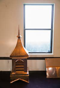 A custom-made copper cupola will be reinstalled at the church before the end of July.(Ashley Landis/Staff Photographer)
