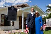 Don and Wanda Wesson outside the White Rock Chapel in Addison. The Wessons bought the property, which originally belonged to members of the Upper White Rock freedman's community last year, and have led the renovation of the 1981 church on the lot. (Ashley Landis/Staff Photographer)
