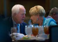 "<p>Sen. John Cornyn&nbsp; spoke with Fort Worth Mayor Betsy Price at a luncheon at the Omni Hotel in Fort Worth in November. Cornyn later discussed issues regarding transportation, opiate abuse and President Donald Trump during the luncheon.&nbsp;<span style=""font-size: 1em; background-color: transparent;"">Cornyn isn't expected to have a major primary challenge to his re-election bid.</span></p>(Daniel Carde/Staff Photographer)"