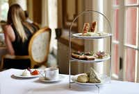 Tea sandwiches, scones and tea at the French Room at the Adolphus Hotel in Dallas.(Ben Torres/Special Contributor)