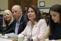 Rep. Veronica Escobar, D-Texas, second from the right, testifies before the House Oversight Committee hearing on family separation and detention centers, Friday, July 12, 2019 on Capitol Hill in Washington. Also on the panel are from l-r., Rep. Debbie Lesko, R-Ariz., Rep. Chip Roy, R-Texas and Rep. Alexandria Ocasio-Cortez, D-N.Y. (AP Photo/Pablo Martinez Monsivais)(Pablo Martinez Monsivais/AP)