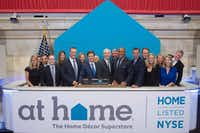 Plano-based home decor superstore At Home started trading shares on the New York Stock Exchange in 2016 under the ticker HOME. (Valerie Caviness/NYSE)