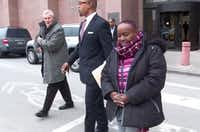 Carolyn Davis, former Dallas city council member, as she exited the Earle Cabell Federal Building in Dallas on March 1.(KXAS-TV (NBC5))