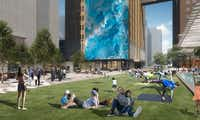AT&T's Discovery District will include a 104-foot-tall media wall that wraps around the corner of a building.(Gensler)