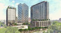 Ryan Cos.' planned Uptown Dallas project will include (from left to right) a hotel, offices and residential towers.(GFF)