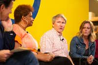 Panelist Ben Fountain (center), speaks during the Dallas Festival of Books and Ideas event, The Literary City, at Interabang Books in Dallas on May 31, 2019. From left to right are panelists Oscar Casares, Sanderia Faye, Fountain and Sarah Hepola.(Allison Slomowitz/Special Contributor)
