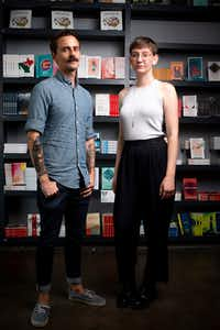 Will Evans, executive director of Deep Vellum Publishing, and Sara Balabanlilar, marketing and sales director, pose for a photograph at Deep Vellum Books in Dallas on July 9, 2019.(Shaban Athuman/Staff Photographer)
