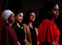 Democratic U.S. Rep. Ayanna Pressley speaks as Ilhan Abdullahi Omar, Rashida Tlaib and Alexandria Ocasio-Cortez hold a news conference, to address remarks made by President Donald Trump earlier this week.(BRENDAN SMIALOWSKI/AFP/Getty Images)
