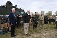 President Donald Trump stands next to Sen. John Cornyn (left) as he speaks to Border Patrol agents near the Rio Grande after his visit to the U.S. Border Patrol station in McAllen on January 10, 2019.(Jim Watson/Agence France Presse/Getty Images)