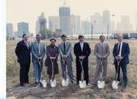 A photo from the early 1980s of the groundbreaking of the Crescent Hotel. (Courtesy of Barrett Shepherd)