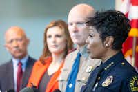 Dallas Police Chief U. Renee Hall gives remarks as (from left) Dallas County District Attorney John Creuzot; Erin Nealy Cox, U.S. attorney for the Northern District of Texas; and Jeoff Williams,  regional director of the Department of Public Safety, Region 1,  listen during a press conference.(Shaban Athuman/Staff Photographer)
