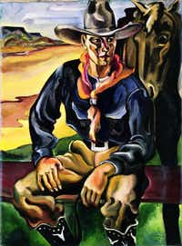 R. Vernon Hunter's 1928 work <i>Cowboy </i>is on loan from the Collection of the Panhandle-Plains Historical Museum.&nbsp;&nbsp;(Witte Museum)