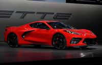 TUSTIN, CA - JULY 18: The 2020 mid-engine C8 Corvette Stingray by General Motors is unveiled during a news conference on July 18, 2019 in Tustin, California. (Photo by Kevork Djansezian/Getty Images)(Kevork Djansezian/Getty Images)