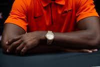 Oklahoma State University football cornerback A.J. Green wears a Michael Kors watch during the Big 12 Conference Media Days.(Lynda M. Gonzalez/Staff Photographer)