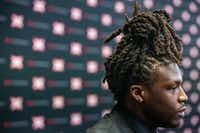 Baylor running back JaMycal Hasty also wore earrings with his double necklaces and an all-black ensemble.(Lynda M. Gonzalez/Staff Photographer)