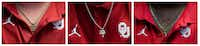 From left, University of Oklahoma players Creed Humphrey,  CeeDee Lamb, and Neville Gallimore wear necklaces during the Big 12 Conference Media Days event at the AT&T Stadium in Arlington on July 16, 2019.(Lynda M. Gonzalez/Staff Photographer)