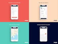 A layout shows different screens of VanGo, an app designed to help give working parents transport solutions.(Courtesy of VanGo)