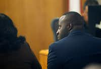 Former Mesquite police Officer Derick Wiley listened to testimony during his trial in the shooting of Lyndo Jones on Friday.(Vernon Bryant/Staff Photographer)