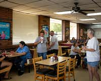 Locals enjoy lunch at the Dairy Queen in Cooper, Texas, on Thursday, July 11, 2019.(Lynda M. Gonzalez/Staff Photographer)