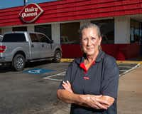 Teresa Thompson, a cook at the Dairy Queen in Cooper, witnessed the fire at the neighboring Enloe State Bank.(Lynda M. Gonzalez/Staff Photographer)