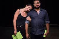 """W"" (Dani Nelson) and ""M"" (Ruben Carrazana) &nbsp;are in line at Ikea when he brings up the idea of having a child in <i>Lungs</i>. Stage West Theatre is producing the provocative drama, which raises the question of whether it's right to bring a child into a world plagued by climate change. It's also a love story.(Daniel Carde/Special Contributor)"