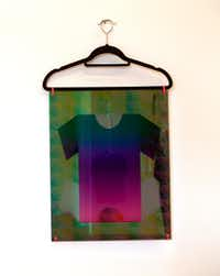 Brooklyn artist Kate Kosek, Kewl Lewk, 2019, UV pigment on plexiglass, zip ties and clothes hangers. Photographed at The Big Summer T-Shirt Show at Ex Ovo gallery in Dallas on July 14, 2019. (Nan Coulter)