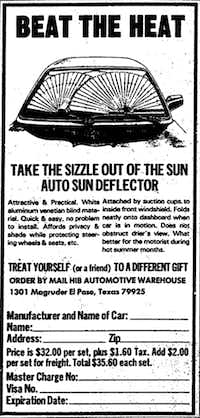 A 1983 <i>Dallas Morning News</i> advertisement for the Auto Sun Deflector, available by mail-order from the HIB Automotive Warehouse.(The Dallas Morning News)