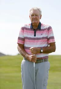 Ray Hibler poses for a portrait at Wildhorse Golf Club in Denton. Hibler, now 88, broke his age by 16 strokes at Wildhorse Golf Club in June when he was 87.(Vernon Bryant/Staff Photographer)