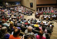 A large audience looked on during a joint meeting of the Plano City Council and the Planning and Zoning Commission on Monday in Plano. The joint hearing was an opportunity for residents to comment on the controversial Plano Tomorrow master development plan.(Ryan Michalesko/Staff Photographer)