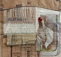 "<p>In Ivonne Acero's 2018 mixed-media piece <i>Tinaca, the Seamstress</i>, words form the outline of a chicken. T<span style=""font-size: 1em; background-color: transparent;"">he chickens in her works represent the seamstresses Acero grew up with, and the writings in the piece recount her memories of growing up inside a clothing factory.</span></p>(Nan Coulter/Special Contributor)"
