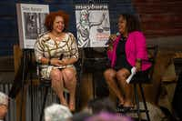 Nikole Hannah-Jones,<i>&nbsp;New York Times Magazine</i>&nbsp;domestic correspondent, speaks with reporter Cheryl Thompson during a keynote event at the Mayborn Literary Nonfiction Conference.&nbsp;<br>(Hatch Visuals/Kara Dry<br>)