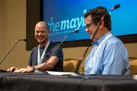 Journalist Jeff Maysh cracks up during a conversation led by <i>Texas Monthly</i>'s Skip Hollandsworth at the Mayborn Literary Nonfiction Conference.<br>(Hatch Visuals/Kara Dry<br>)