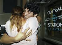 Francisco Galicia, right, kisses his mother Sanjuana Galicia at the McAllen, Texas, Central Station, Wednesday, July 24, 2019. Galicia, 18, who was born in the U.S. was released Tuesday, July 23, from federal immigration custody after wrongfully being detained for more than three weeks.(Delcia Lopez/AP)