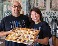 Kasa Kolache bakery owners Enrique Barrera (left) and Gloria Barrera pose for a portrait in their establishment in Coppell, Texas, on Thursday, July 25, 2019. (Lynda M. Gonzalez/The Dallas Morning News)(Lynda M. Gonzalez/Staff Photographer)