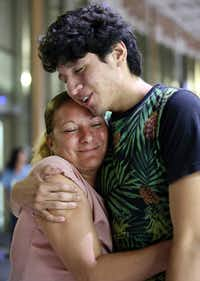 Francisco Galicia embraces his mother, Sanjuana Galicia, on Wednesday in McAllen. Galicia, 18, who was born in the U.S., was released on Tuesday from federal immigration custody after wrongfully being detained for more than three weeks.(Delcia Lopez/The Associated Press)