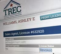 """The Texas Real Estate Commission website lists the real estate license for Ashley E. Williams as """"revoked"""". Her email address has been blurred out in this image.(TREC.texas.gov/Staff photographer)"""