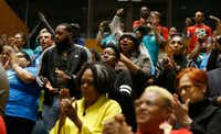 People celebrated after seeing the vote for earned paid sick time leave passed during a City Council meeting at Dallas City Hall on April 24, 2019.(Vernon Bryant/Staff Photographer)