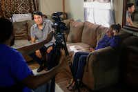 Seated in his family's living room, Francisco Galicia, a Dallas-born U.S. citizen who spent three weeks in the custody of U.S. Customs and Border Protection and Immigration and Customs Enforcement, participates in a media interview for a local television station on Friday, July 26, 2019 in Edinburg.(Ryan Michalesko/Staff Photographer)
