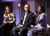 From left, Wendy Child,  modern worship director, Joe Stobaugh, modern worship pastor, and Jesseca Aziz, minister of outreach, answer questions from congregants at Grace Avenue United Methodist Church in Frisco Sunday.(Jason Janik/Special Contributor)