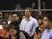 Democratic presidential candidate Beto O'Rourke listened during a vigil at Ponder park in El Paso, Texas on Sunday, August 4, 2019. Less than a mile away is the scene where 20 people were shot and killed and 26 more were wounded at a Walmart in El Paso on Saturday. (Vernon Bryant/The Dallas Morning News)(Vernon Bryant/Staff Photographer)