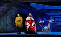 Bradley Garvin (left) stars as Drokan and David Leigh as King Hjarne in Danish composer Poul Ruders' <i>The Thirteenth Child</i>.(Ken Howard/Santa Fe Opera)