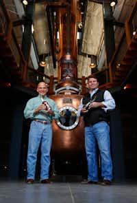 Leonard Firestone (left) and Troy Robertson inside their namesake distillery in 2017.(File Photo/Staff)