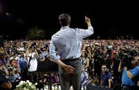 Democratic presidential candidate and former Texas Rep. Beto O'Rourke speaks during a vigil for victims of Saturday's mass shooting at a shopping complex Sunday, Aug. 4, 2019, in El Paso, Texas. (AP Photo/John Locher)(John Locher/AP)