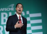 Democratic presidential candidate Julian Castro speaks during the 2020 Public Service Forum hosted by the American Federation of State, County and Municipal Employees (AFSCME) at UNLV on August 3, 2019 in Las Vegas, Nevada.  (Ethan Miller/Getty Images)