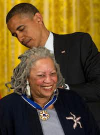 President Barack Obama awarded author Toni Morrison a Medal of Freedom during a 2012 ceremony in the East Room of the White House in Washington. (Carolyn Kaster/The Associated Press)