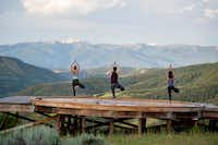 Yoga enthusiasts will find a relaxing backdrop at the new Lodge at Blue Sky, a study of 21st-century cowboy cool tucked into 3,500 acres of wilderness near Park City, Utah.(Visit Park City)