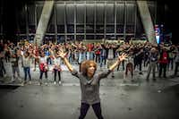 Assistant choreographer Mayte Natalio rehearses with the cast of <i>The Tempest</i>, the production that launched Dallas Theater Center's Public Works Dallas program in 2017.(File Photo/Staff)
