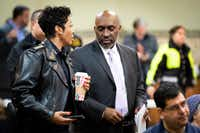 Dallas Police Chief U. Renee Hall (left) appeared with Dallas City Manager T.C. Broadnax at a Citizens Police Review Board town hall meeting at Highland Oaks Church of Christ earlier this year.(Smiley N. Pool/Staff Photographer)